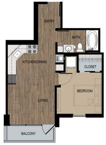1 Bed / 1 Bath / 530 sq ft / Deposit: $400