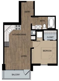 1 Bed / 1 Bath / 530 sq ft / Deposit: $400