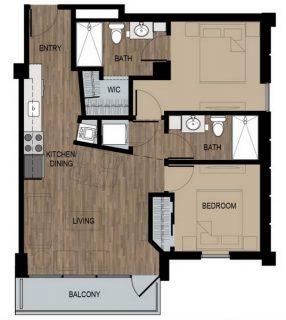 2 Bed / 2 Bath / 875 sq ft / Deposit: $400