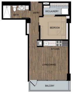 1 Bed / 1 Bath / 535 sq ft / Deposit: $400