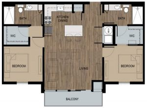 2 Bed / 2 Bath / 950 sq ft / Deposit: $400