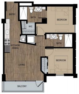 2 Bed / 2 Bath / 875 sq ft / Deposit: $400